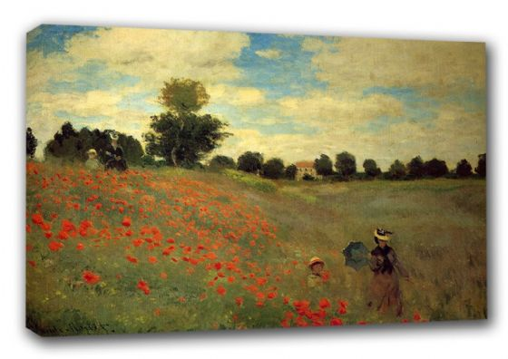 Monet, Claude: Wild Poppies, near Argenteuil. Landscape Fine Art Canvas. Sizes: A3/A2/A1 (00249)